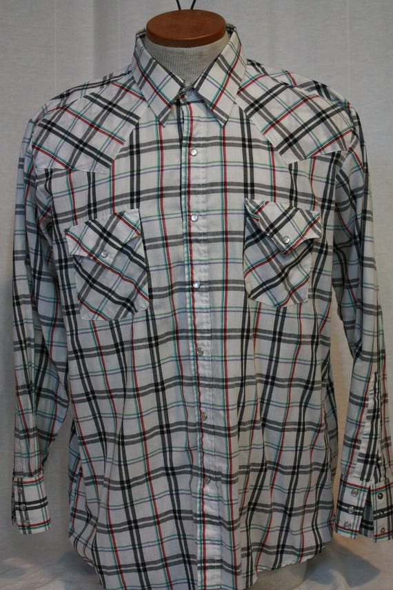 ac106824bea8c9 Ely Cattleman plaid flannel pearl button snap up vintage shirt