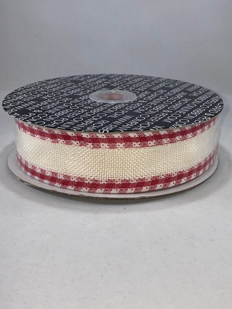 New Burlap de Cuisine 1-12 Inch 20 Yard Ribbon Roll Ivory and Red