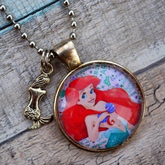 Ariel Little Mermaid Sketch Cameo Handmade Necklace Disney Princess Cute Gift