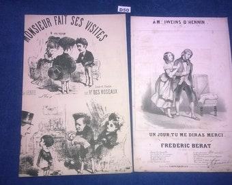 Rare Antique Victorian French Music Sheets x 2 Un jour tu me diras merci monsieur fait ses visites
