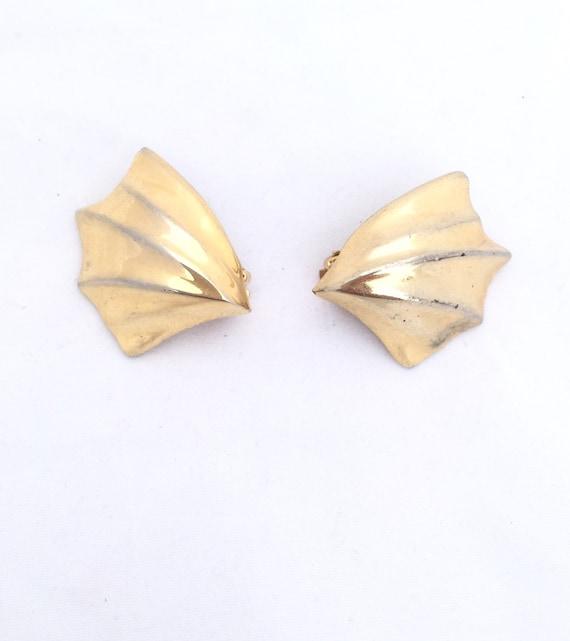 1980s Jewelry Vintage 80s Large Gold Earrings Clip On Earrings