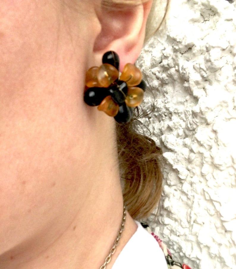Big Plastic Clip on Earrings ROCHELLE Chrysanthemum Style Earrings in Golden Orange and Black Big 80s Earrings Non gold Clip Ons Big Clip on