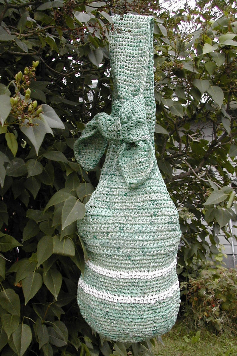 Large Green Hobo Bag Vegan Beach or Market Tote Striped Foragers Tote Crossbody Bag