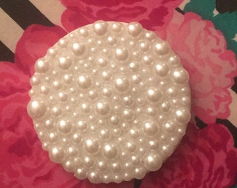 White pearl double sided compact mirror