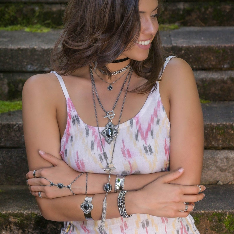 Bohemian Jewelry Boho Gemstone Hand Chain: Opal Howlite or Hematite in Gold or Silver Adjustable Slave Bracelet Chunky Boho Handchain