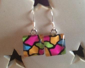 Abstract Art Neon Earrings
