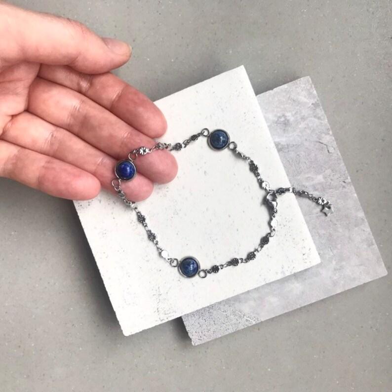 Silver Steel Lapis Lazuli Ankle Bracelet One Size Fits All Boho Natural Crystal Anklet Adjustable Lapis Lazuli Anklet
