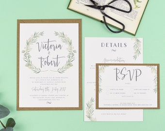 Watercolour Greenery Eucalyptus Wedding Invitations - Aisling