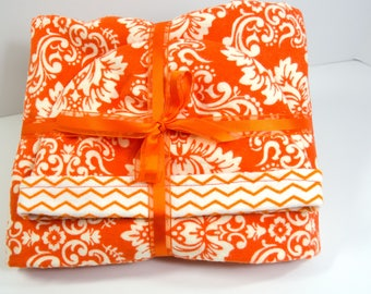 Baby Gift Set Blanket and Matching Reversible Hat with Orange Flowers