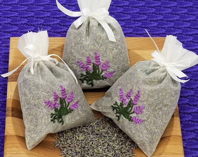3 Pack of French Lavender Sachet, great for wedding toss, wedding favors, baby showers, gift giving, drawers, closets, bug repellent