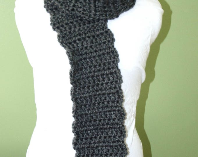 Handmade Crotchet Scarf - Soft and Warm Gray