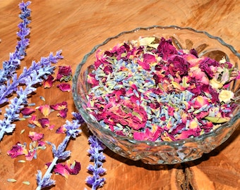 Fragrant dried rose petals and lavender mix 8 oz, crafts, wedding favor, wedding toss, bulk rose petals, stress relief, anxiety