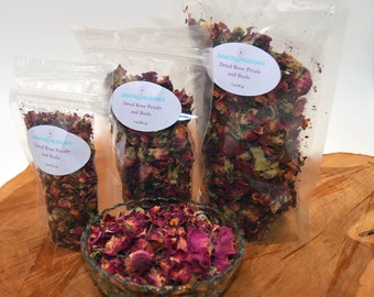 4oz Fragrant dried rose petals and buds, crafts, wedding favor, wedding toss, bulk rose petals, beautiful fragrance, stress relief, anxiety