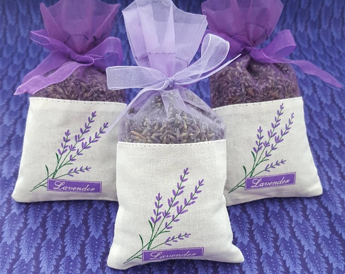 3 pack French Lavender Sachets, great for wedding toss, wedding favors, baby showers, gift giving, drawers, closets, bug repellent