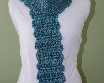 Handmade Crotchet Scarf Turquoise Blue with Multi-colored Specks