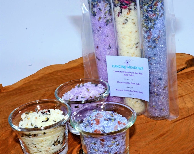 3 Piece Gift Pack of Bath Salts, Lavender Himalayan Sea Salt Bath Salt, Honeysuckle Bath Salt, Natural Lavender Bath Salts, Relaxing
