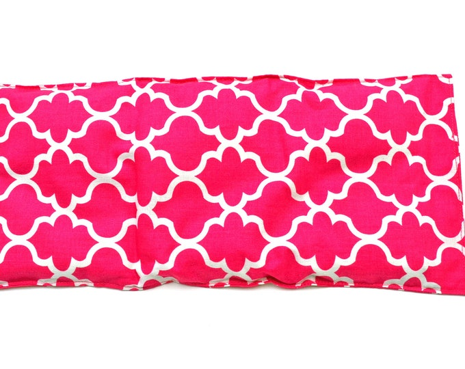 Pink rice or flax seed heating pad,  heat therapy, pain relief, muscle aches, menstrual cramps, inflammation, washable cover, lavender