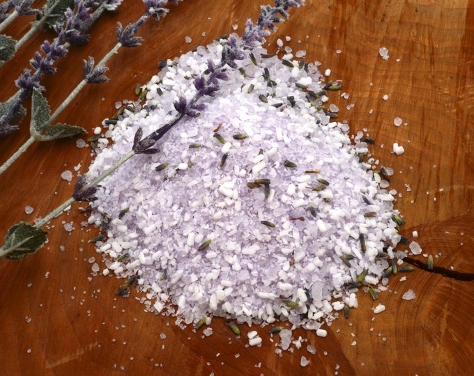 6 oz Lavender Bath Salt With Dead Sea Salt, Epsom Salt and 100% Pure Bulgarian Lavender Essential Oils