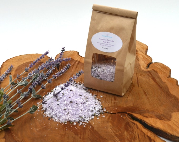 10 oz Gift Bag of Lavender Bath Salt With Dead Sea Salt, Epsom Salt and 100% Pure Bulgarian Lavender Essential Oils