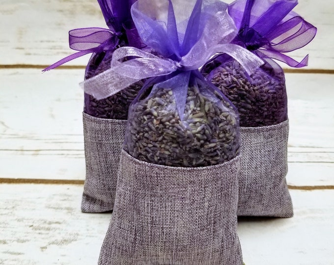 100 pack French Lavender Sachets, great for wedding toss, wedding favors, baby showers, gift giving, drawers, closets, bug repellent