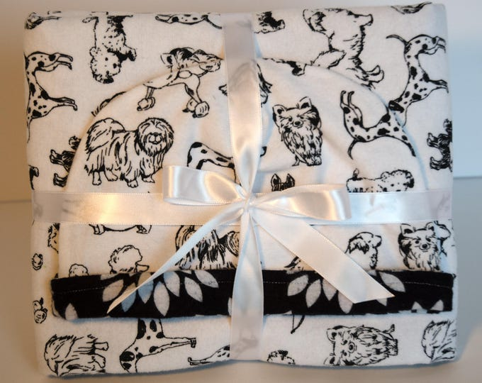Baby Gift Set Blanket and Matching Reversible Hat with Puppy Dogs and Flowers