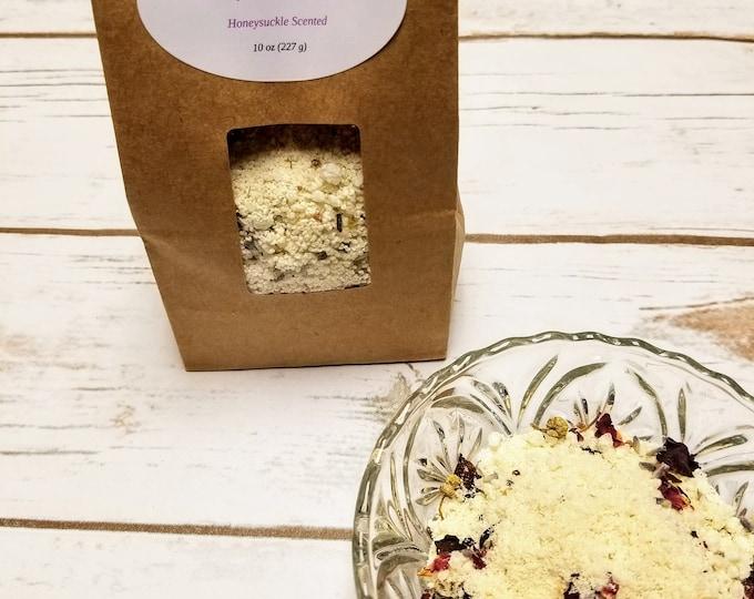 10 oz Honeysuckle Bath Salts with Dead Sea Salt Gift Bag, Botanical bath salt, Relaxing, Stress Relief, detoxify