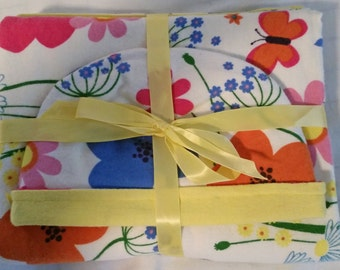Baby Gift Set Blanket and Matching Reversible Hat with Flowers and Butterflies