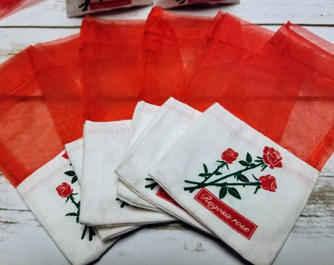 12 Pack Empty Rose Sachet Bags With Ribbons