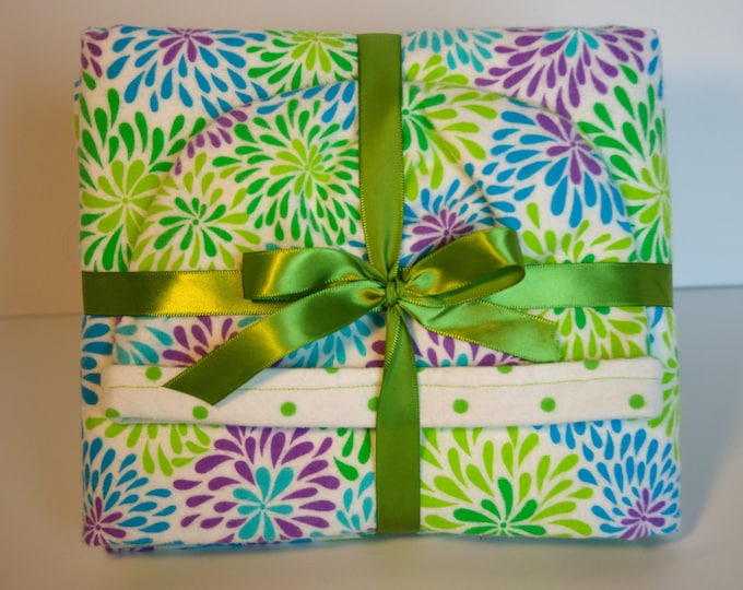 Baby Gift Set Blanket and Matching Reversible Hat with a Multi-Colored Flowers