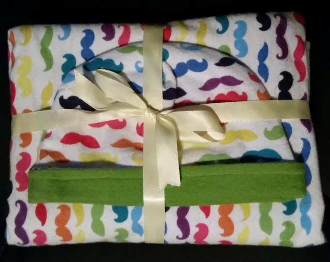 Baby Gift Set Blanket and Matching Reversible Hat with Colorful Mustaches