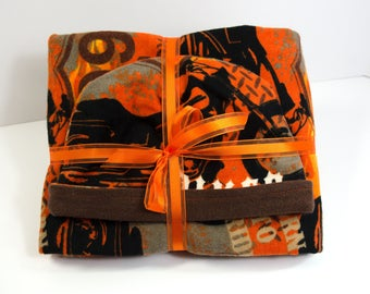 Baby Gift Set Blanket and Matching Reversible Hat with Biker Theme