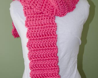 Handmade Crotchet Scarf that is Soft and Fluffy PInk