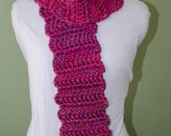Handmade Crotchet Scarf Dark Pink with Multi-colored Specks