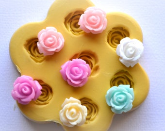 0841Silicone Rubber Flexible Mold Mould Tiny Roses Resin Polymer Clay Fondant Chocolate Candy Kawaii Handmade Mold Flower