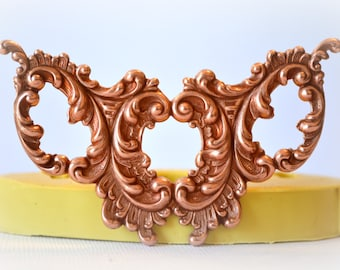 clay 0983 Silicone Rubber Flexible Food Safe Mold Mould resin fondant gum paste soap elegant wedding mold medallion candy chocolate