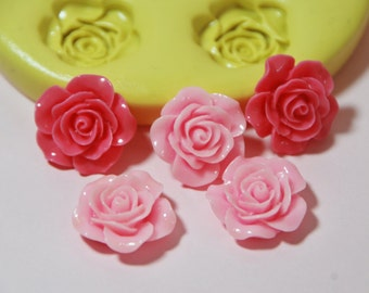 0050- 5 Roses 18mm  Silicone Rubber Food Safe Mold-resin, clay, fondant, chocolate, soap, wax, UTEE, wedding roses, flower mold