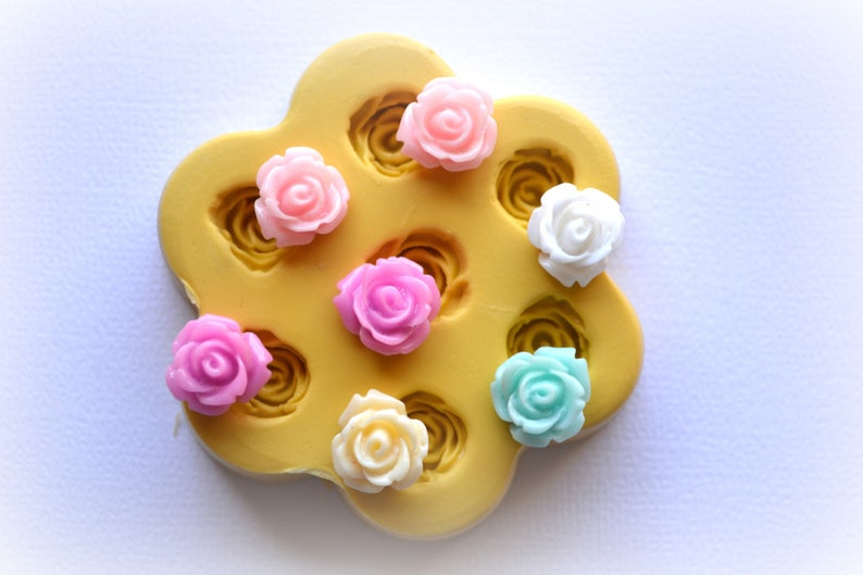 0841 Tiny Roses Mold.  Use for resin clay food and more. image 0