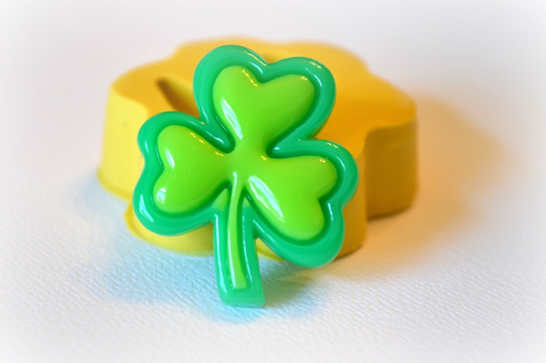 0861 Lucky Charm Irish Clover Silicone Rubber Flexible Food Safe Mold  Mould- resin, clay, fondant, gum paste, candy, chocolate, soap