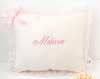 08f545debf4b6 Personalized baby pillow girl Baby pink pillow with lace | Etsy