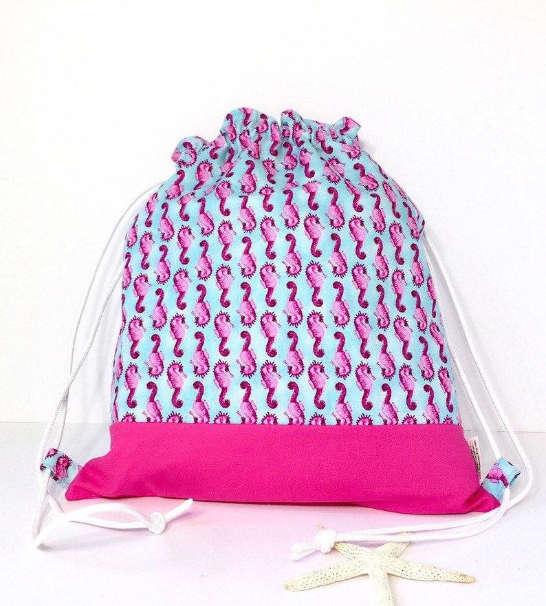 e7c23d20ca23 On SALE Drawstring bag for kids - Kids beach backpack - Personalized beach  bag kids - Nautical beach bag - Seahorse bag