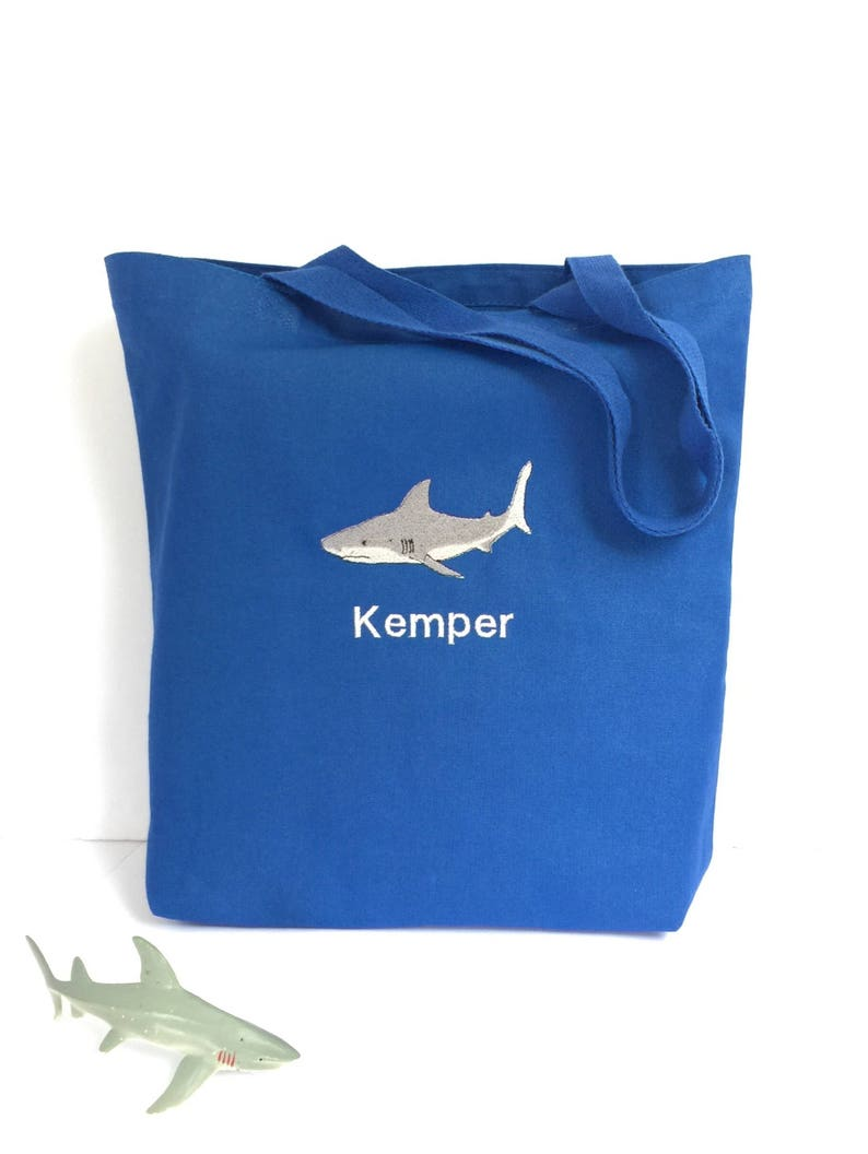 01cd81883f9b Personalized tote bags for kids - Shark bag - Kids beach bag - Library bag  - Beach bags for kids - Blue tote bag