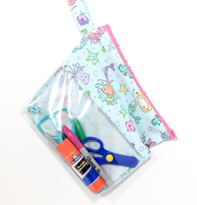 Mermaid Bag for Kids Personalized Bags for Kids Little Girls Purse Organizer bag Zippered Clear Zipper Bag