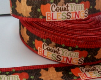 1'' -  25 mm Count Your Blessings Grosgrain Ribbon