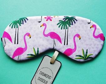 Eye Sleep Mask Flamingos Soft Cotton Pink Print Relax Travel Blindfold Blackout Spa Slumber Bachelorette Hen Tropical Party UK made