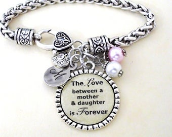 Mother Daughter Bracelet, Mother Daughter Gift, Jewelry, Mother's Day Jewelry, The love between a Mother & Daughter is Forever