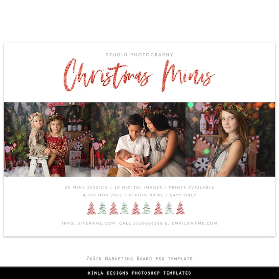 Christmas Minis Marketing Board Photoshop Template For Etsy