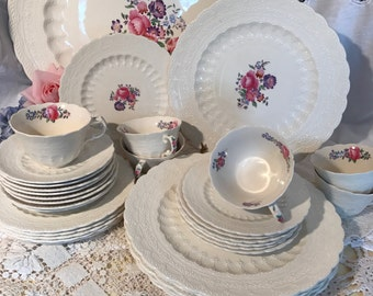 "Antique Dinnerware Set- Copeland Spode Jewel ""Claudia""- 5 piece place settings for 6-Complete Set"