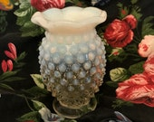 Vintage Fenton Small Hobnail Vase. Clear to Milk White-