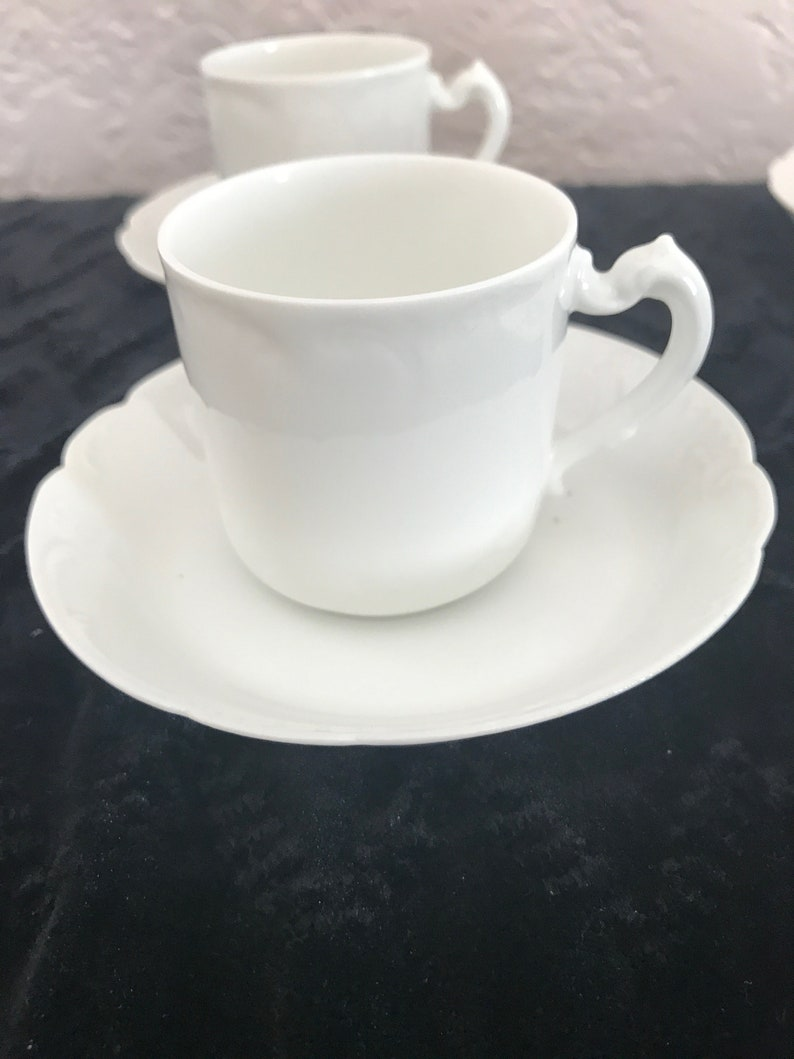 Set of Four 4 Demitasse Cups and Saucers-All White Marseille Pattern Antique Haviland France Excellent Condition-HTF Schleiger 9