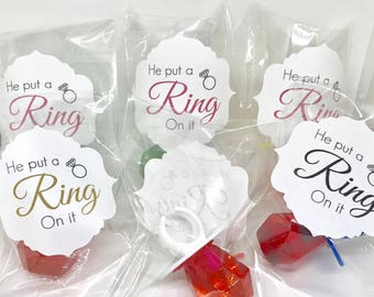 ring pop favor bachelorette party bridal shower he put a ring on it bridesmaid bachelorette gifts